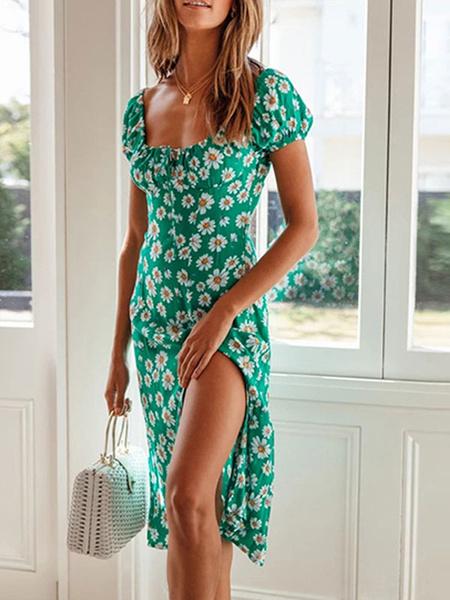 Milanoo Vestido Boho con cordones y cuello en U Manga corta Vestido de playa con cordon estampado floral