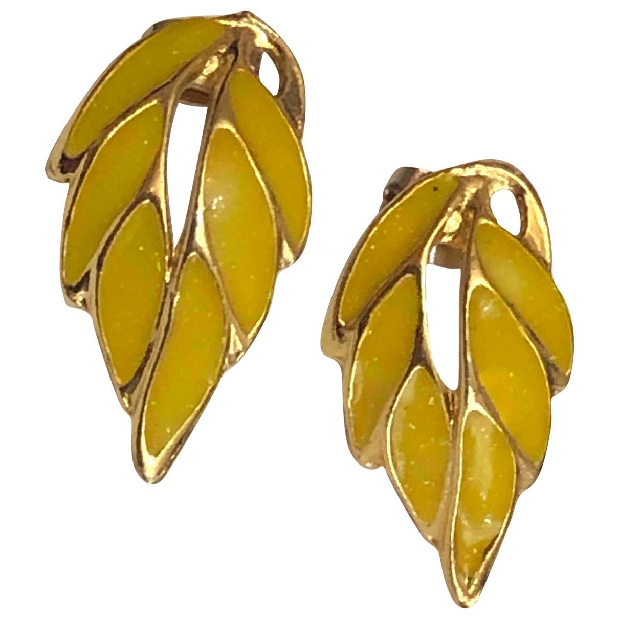 Non Signe / Unsigned Motifs Floraux OhrRing in  Gelb Vergoldet