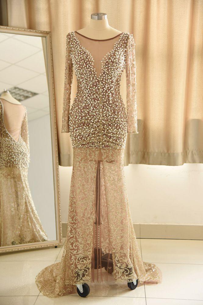 Illusion Neck Champange Pearls Long High Split Split Robe de bal