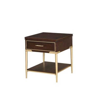 BM196700 Metal and Wood End Table with Open Bottom Shelf and Drawer  Brown and