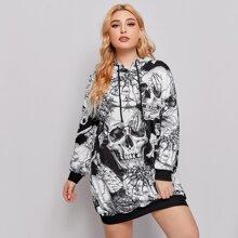 Plus Skull All Over Print Drawstring Hooded Sweatshirt Dress