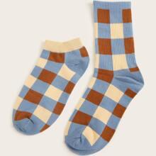 2pairs Plaid Pattern Socks
