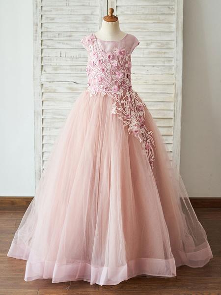 Milanoo Flower Girl Dresses Jewel Neck Tulle Sleeveless Floor-Length Princess Silhouette Beaded Kids Party Dresses
