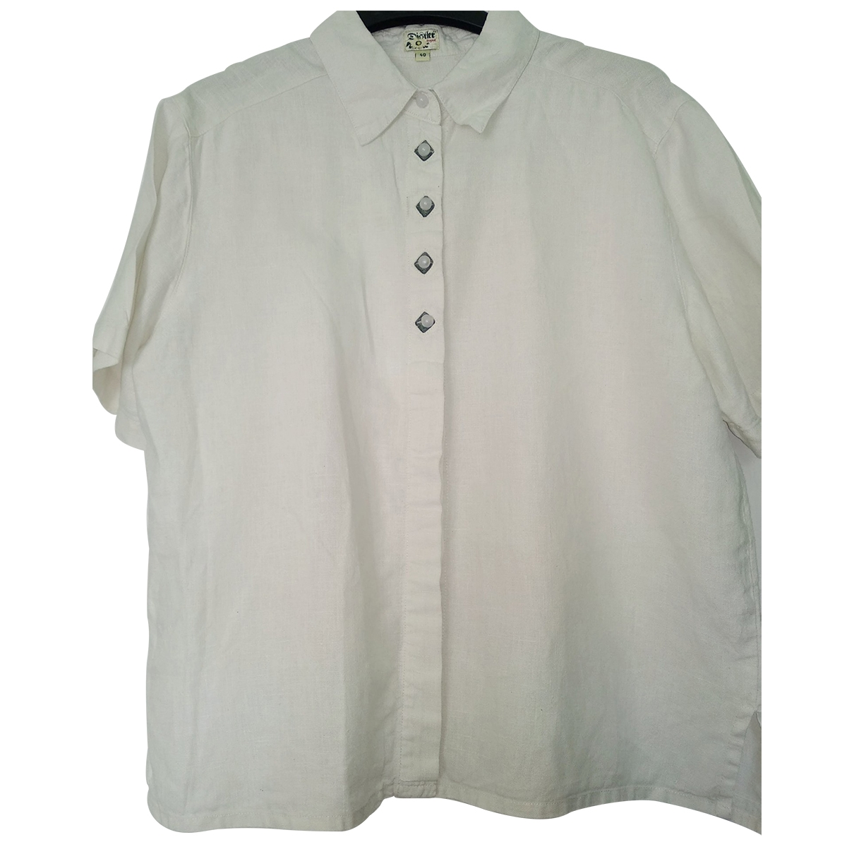 Non Signé / Unsigned \N White Linen  top for Women 40 FR