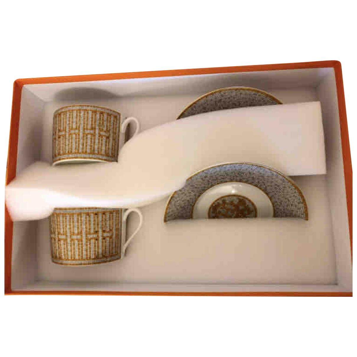 Hermes - Arts de la table Mosaique au 24 pour lifestyle en porcelaine - beige