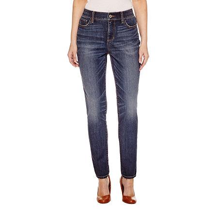 St. John's Bay Womens Mid Rise Skinny Fit Jean, 14 Petite Short , Blue