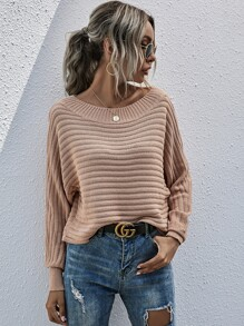 Batwing Sleeve Solid Sweater