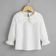 Toddler Girls Contrast Schiffy Bow Front Blouse