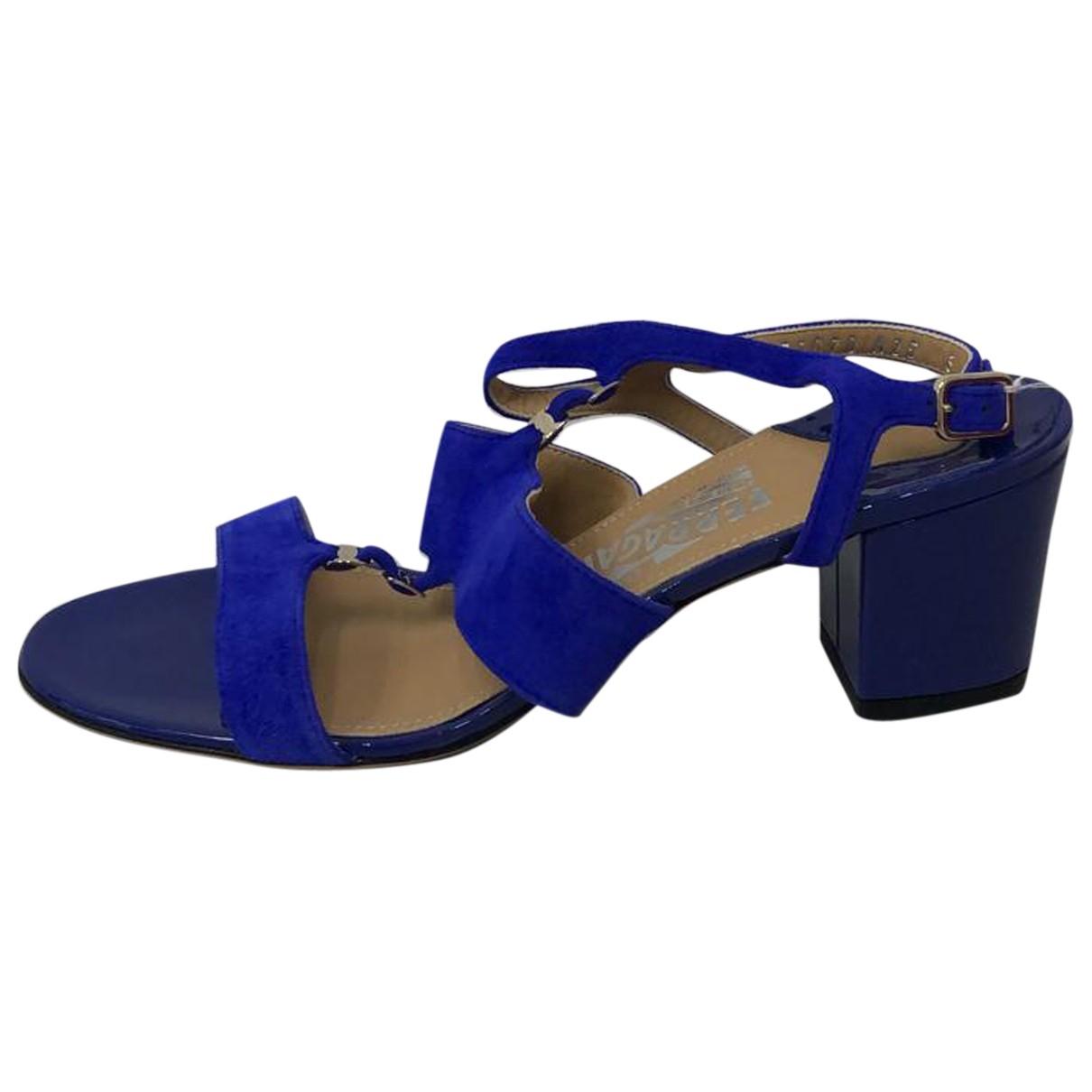 Salvatore Ferragamo N Blue Suede Sandals for Women 6 US
