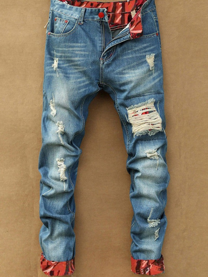 Ericdress Color Block Pocket Vintage Zipper Men's Jeans