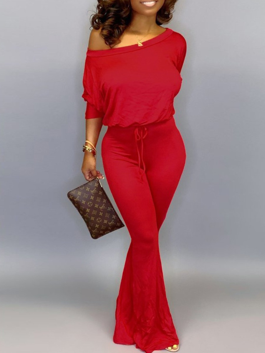 LW lovely Leisure Basic Red One-piece Jumpsuit