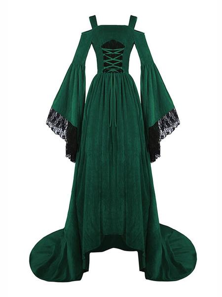 Milanoo Victorian Dress Costume Medieval Renaissance Velour Royal Red Strap Long Trumpet Sleeves Women's Shift Dress Halloween