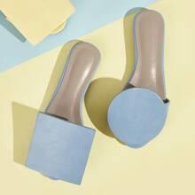 Geometric Design Mismatched Slide Sandals