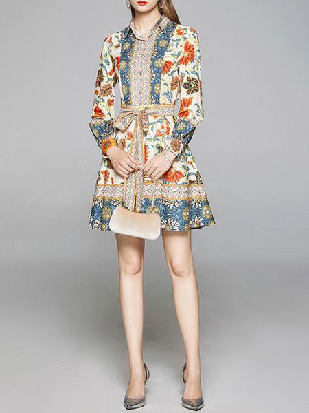 Milanoo Vestido de verano Caqui Botones de cuello vuelto Estampado floral con cordones Vestido de playa Vestido skater
