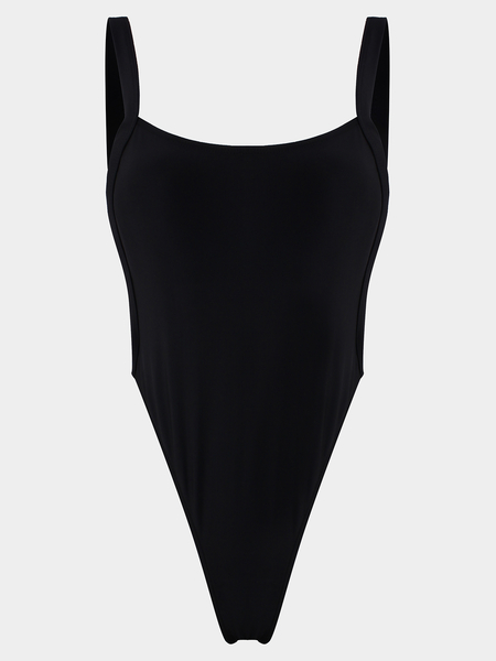 Yoins Black Spaghetti Backless Design Bodysuit Swimwear