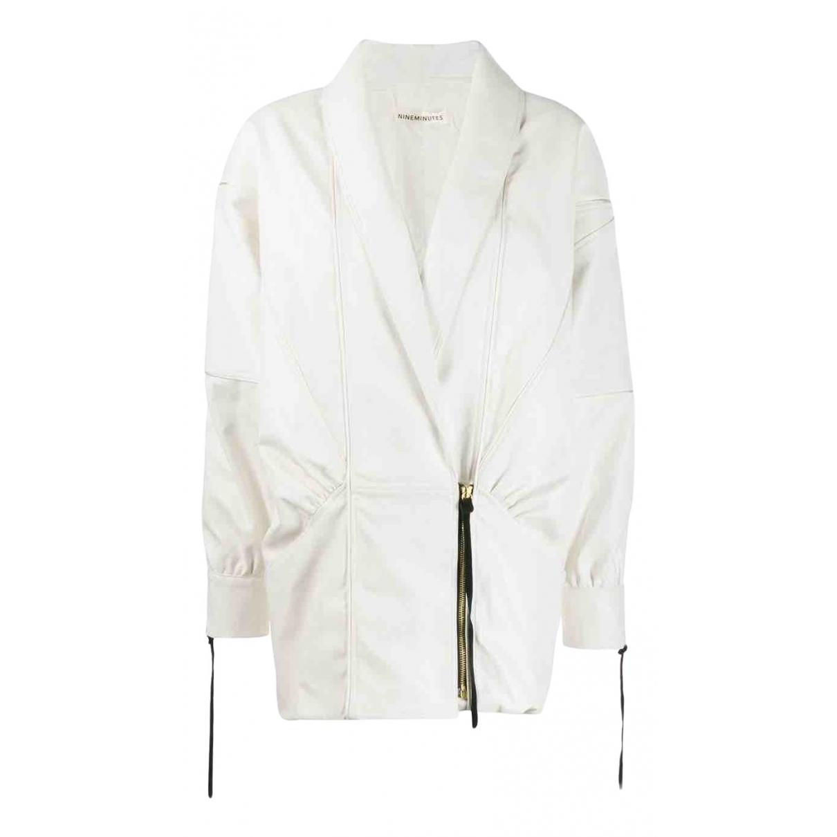 Nineminutes - Veste   pour femme en cuir - blanc