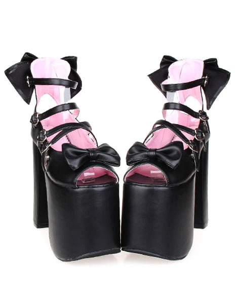 Milanoo Bows Decor Platform Lolita High Heels
