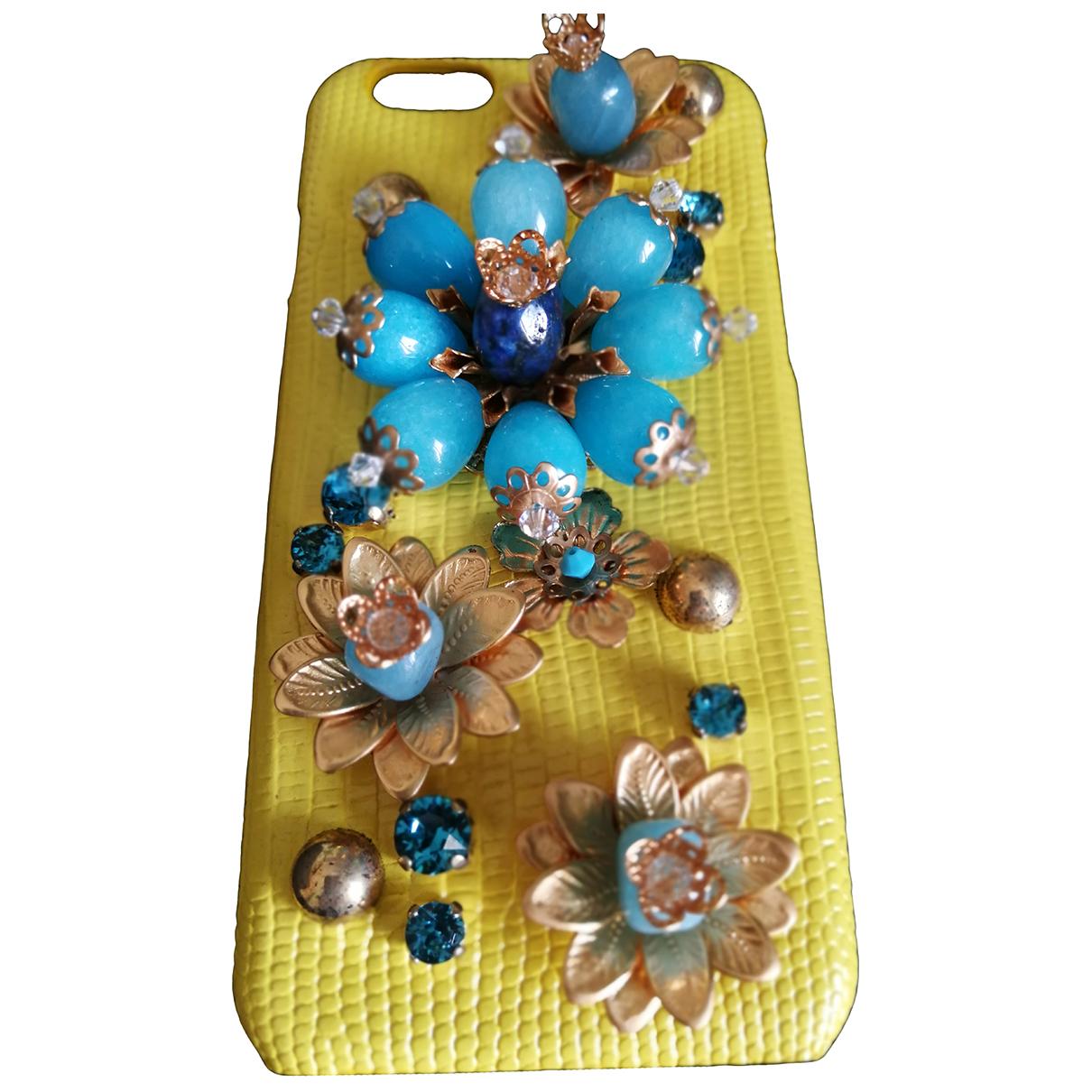 Dolce & Gabbana - Bijoux de portable   pour femme en cuir - jaune