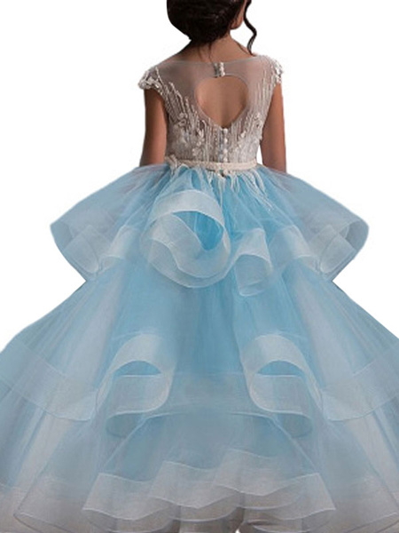 Milanoo Flower Girl Dresses Jewel Neck Short Sleeves Applique Kids Social Pageant Dresses