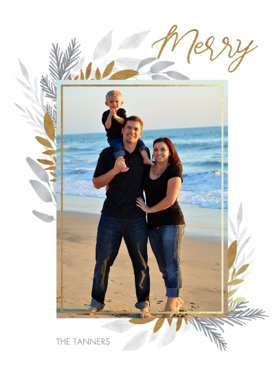 Christmas Photo Cards 5x7 Cards, Standard Cardstock 85lb, Card & Stationery -Brushed Floral