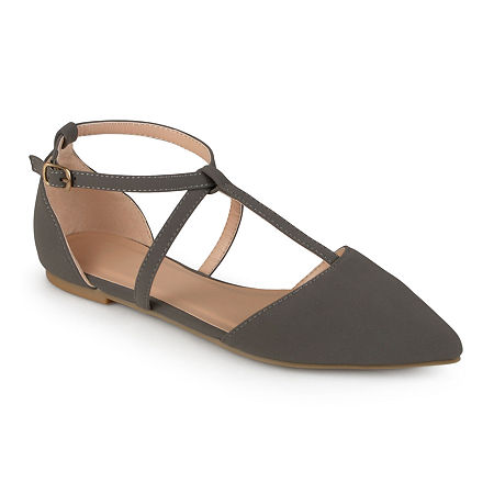 Journee Collection Womens Keiko Ankle-Strap Ballet Flats, 9 Medium, Gray