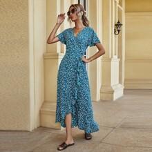 A-Linie Wickelkleid mit Bluemchen Muster und seitlichem Band