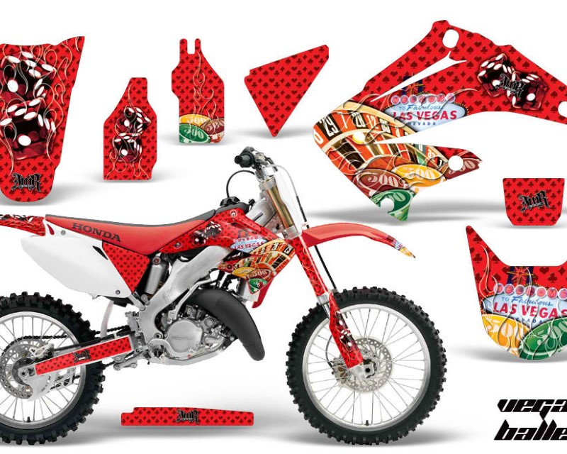 AMR Racing Dirt Bike Graphics Kit Decal Wrap For Honda CR125R | CR250R 2002-2008áVEGAS RED