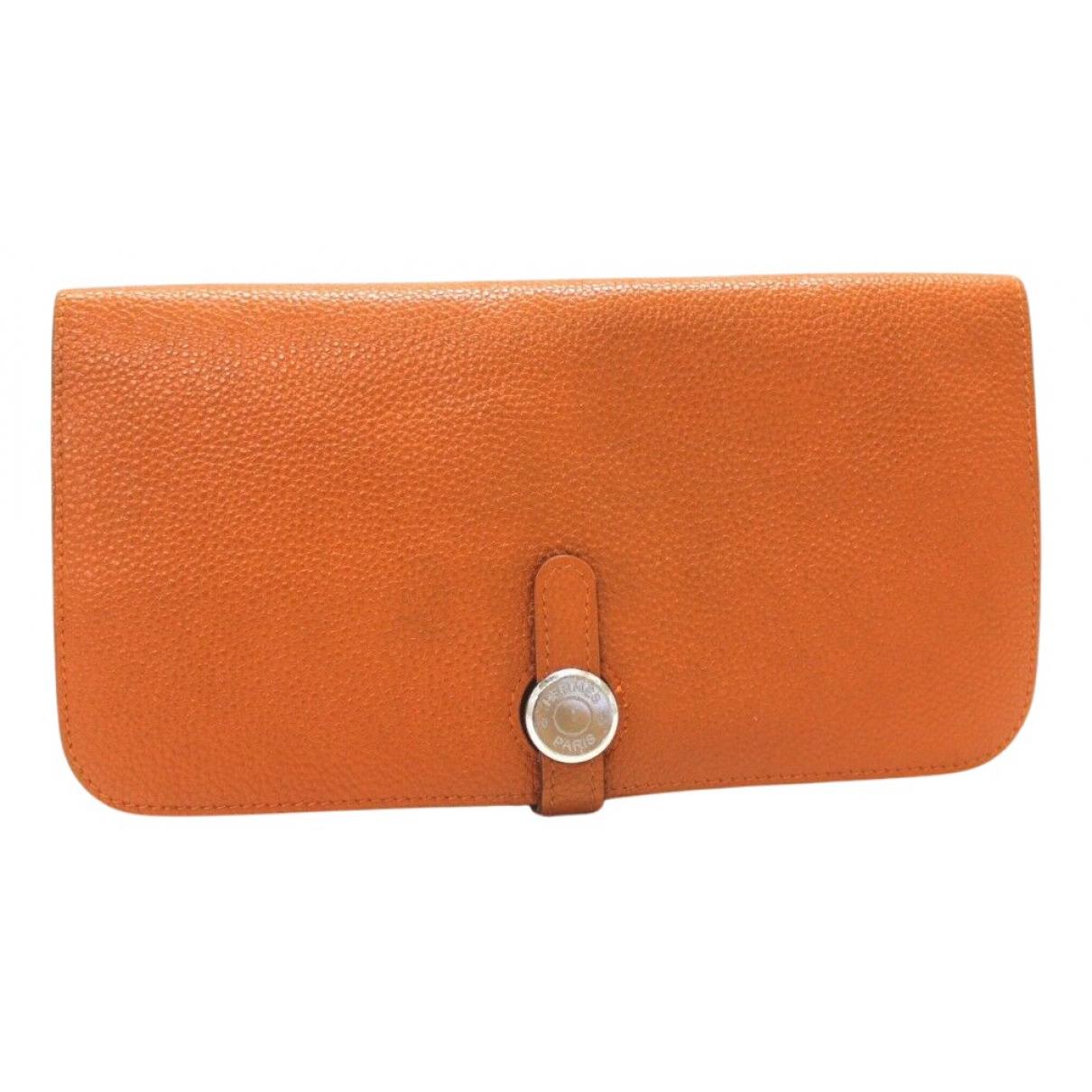 Hermès Dogon Orange Leather wallet for Women N