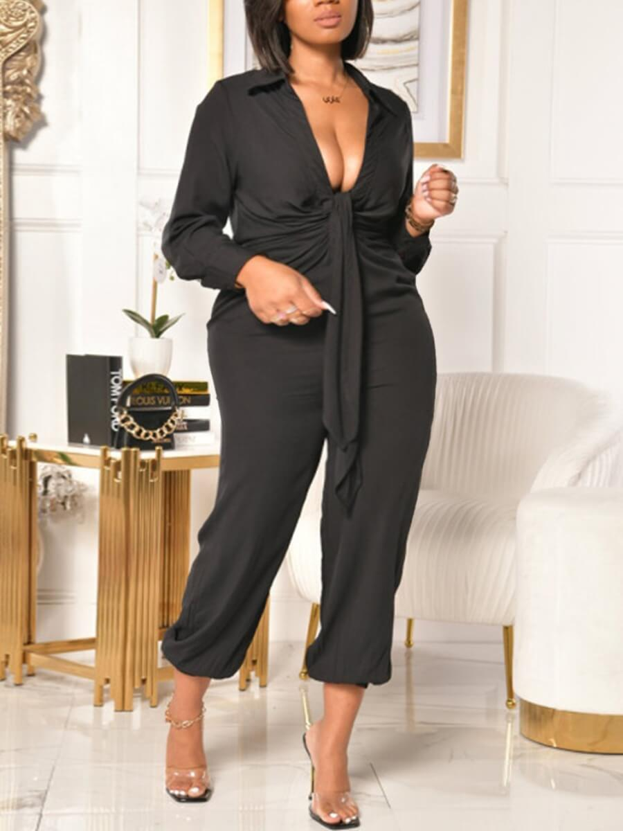 LW Lovely Casual V Neck Tie Knot Black Plus Size One-piece Jumpsuit