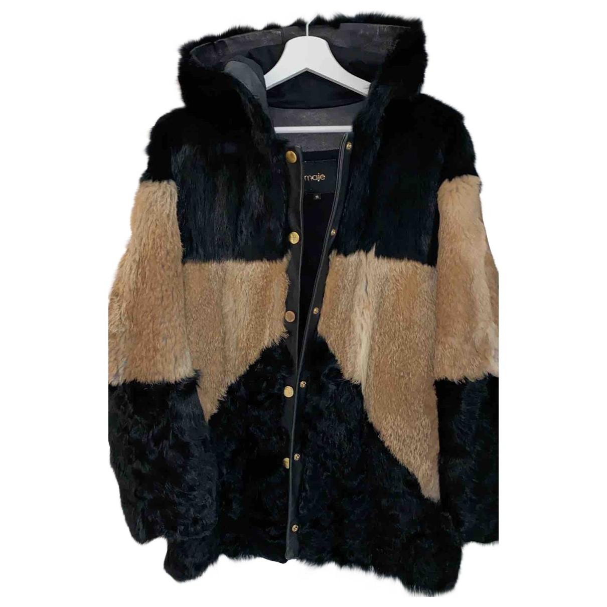 Maje - Manteau   pour femme en lapin - marron