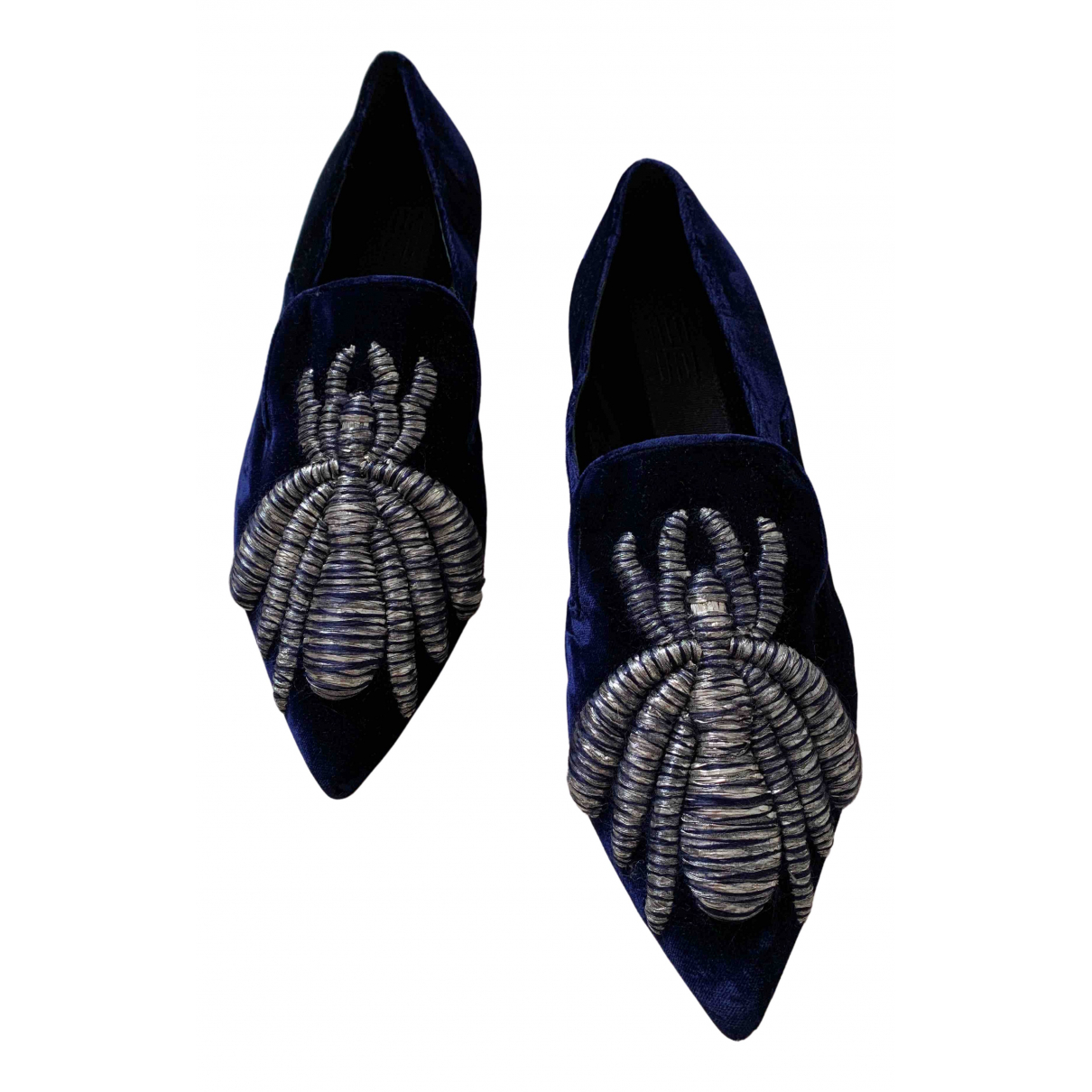 Sanayi 313 N Blue Velvet Flats for Women 37 EU