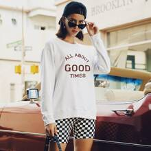 Slogan Graphic Drop Shoulder Sweatshirt