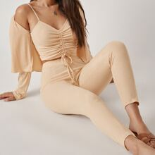 Drawstring Knot Ruched Cami Top & Leggings Set With Cardigan