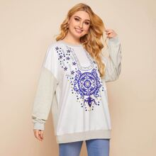 Plus Colorblock Flower Print Sweatshirt