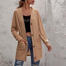Einfarbiger Mantel mit zwei Taschen und Knopfen