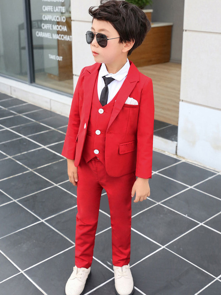 Milanoo Ring Bearer Suits Red Wedding Outfit Boys Tuxedo Kids Formal Wear 4 Piece Set