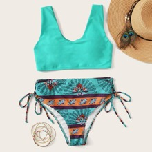 Tribal Print Knotted Side High Waist Bikini Swimsuit