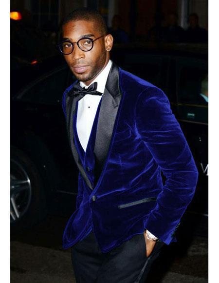 Mens Dark Navy Velvet Tuxedo Blazer ~ Sport coat