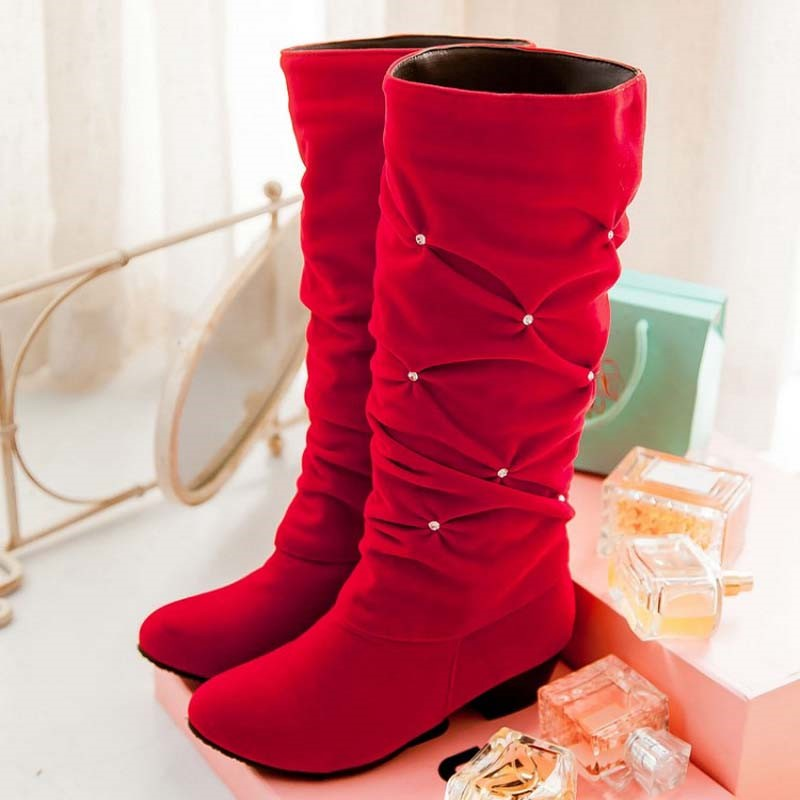 Ericdress Rhinestone Slip-On Knee-High Round Toe Women's Boots
