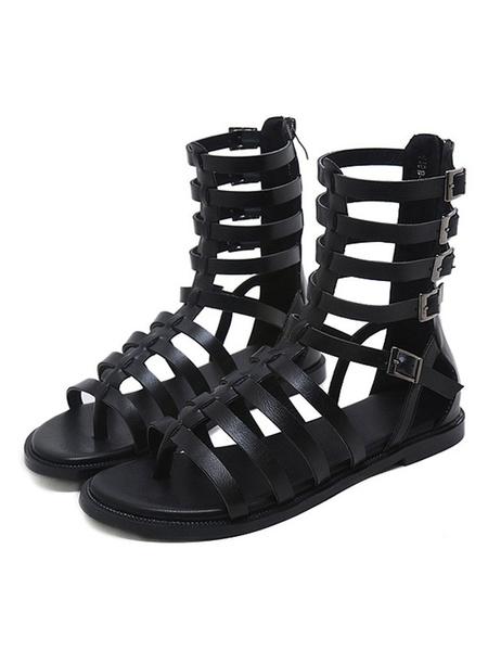 Milanoo Black Gladiator Sandals PU Leather Zipper Flat Gladiator Sandals