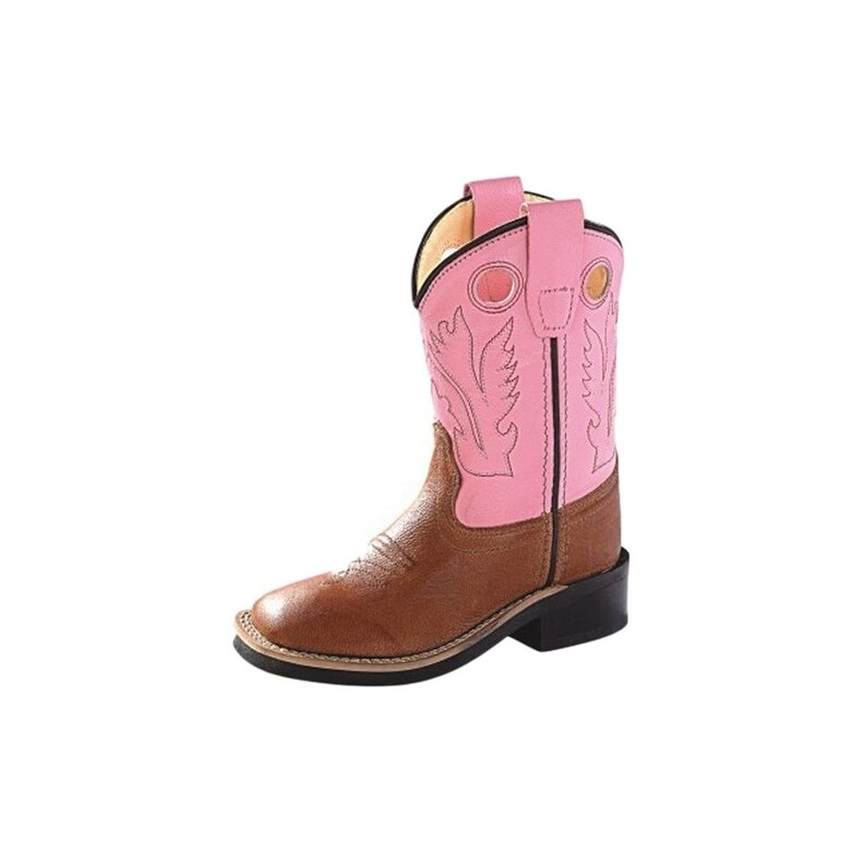 Old West Cowboy Boots Girls Rubber Outsole Tan Canyon Pink - Tan Canyon Pink (6.5 Infant)