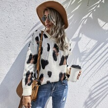 Drop Shoulder Graphic Sweater
