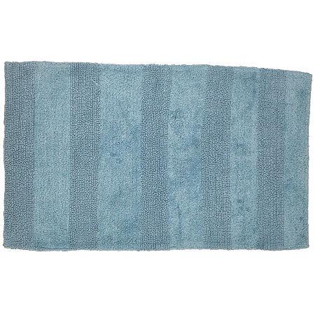 Castle Hill London Wide Cut Reversible Bath Rug Collection, One Size , Blue
