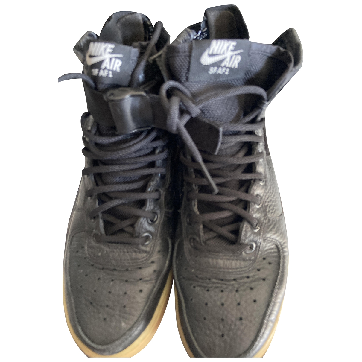 Nike - Baskets Air Force 1 pour femme en cuir - noir