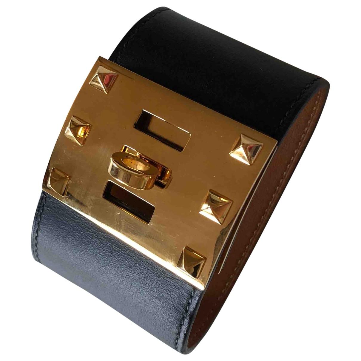 Hermes Extreme Armband in  Schwarz Leder