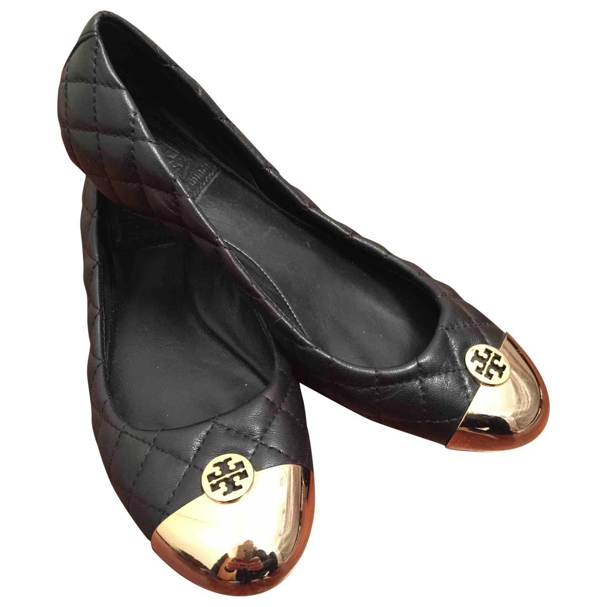 Tory Burch - Ballerines   pour femme en cuir - noir