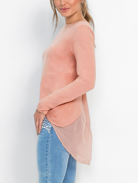 Yoins Pink Round Neck patchwork Design Knitted T-shirt