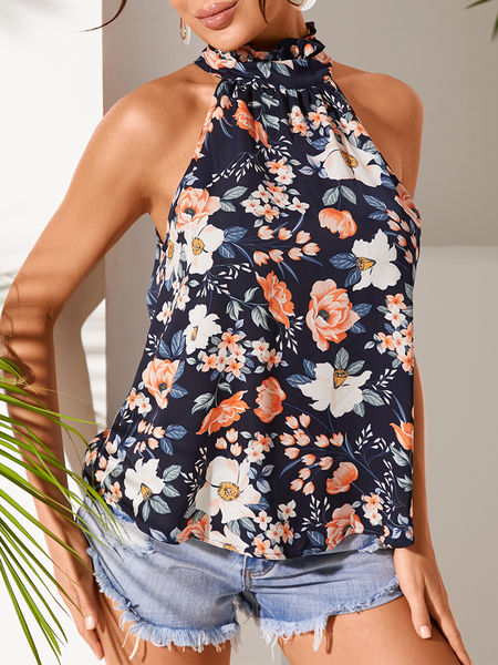 YOINS Random Floral Print Sleeveless Halter Cami
