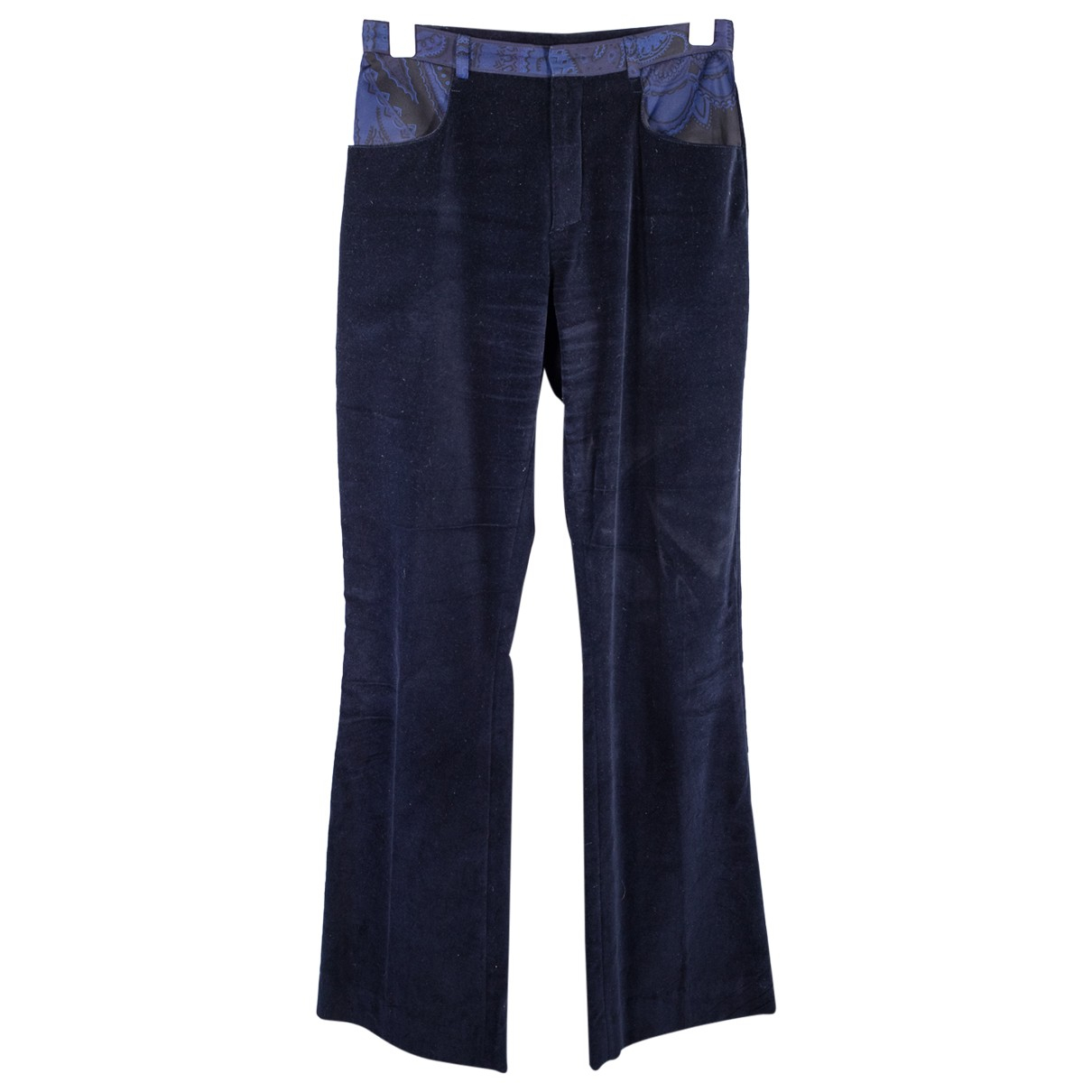 Leonard N Navy Silk Trousers for Women 38 FR