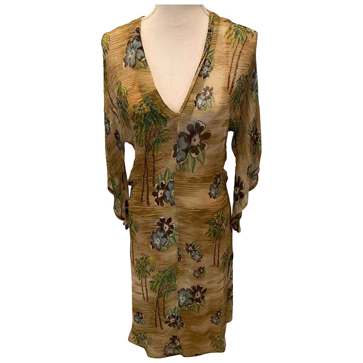 Antik Batik \N Kleid in  Beige Seide